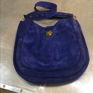 Jcrew suede leather cobalt blue saddle  purse